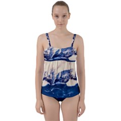 Antarctica Mountains Sunrise Snow Twist Front Tankini Set