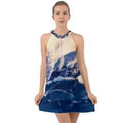 Antarctica Mountains Sunrise Snow Halter Tie Back Chiffon Dress