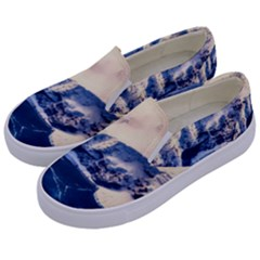 Antarctica Mountains Sunrise Snow Kids  Canvas Slip Ons