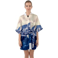 Antarctica Mountains Sunrise Snow Quarter Sleeve Kimono Robe
