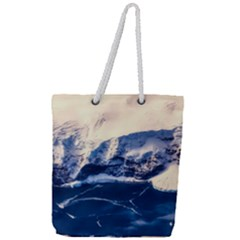 Antarctica Mountains Sunrise Snow Full Print Rope Handle Tote (Large)