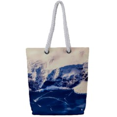 Antarctica Mountains Sunrise Snow Full Print Rope Handle Tote (Small)