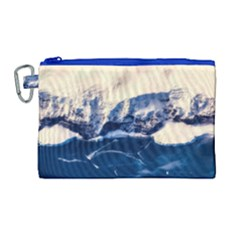 Antarctica Mountains Sunrise Snow Canvas Cosmetic Bag (Large)