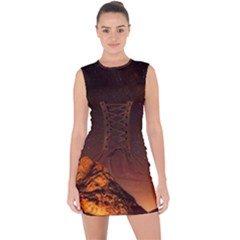 Italy Night Evening Stars Lace Up Front Bodycon Dress