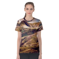 Iceland Mountains Sky Clouds Women s Cotton Tee by BangZart