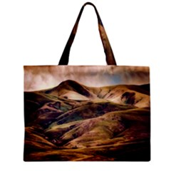Iceland Mountains Sky Clouds Zipper Mini Tote Bag