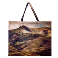 Iceland Mountains Sky Clouds Zipper Large Tote Bag