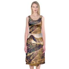 Iceland Mountains Sky Clouds Midi Sleeveless Dress