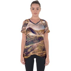 Iceland Mountains Sky Clouds Cut Out Side Drop Tee