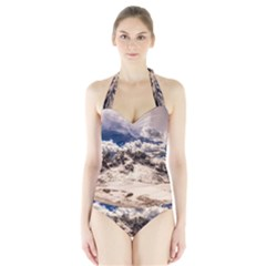 Italy Landscape Mountains Winter Halter Swimsuit