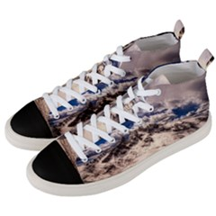Italy Landscape Mountains Winter Men s Mid Top Canvas Sneakers by BangZart