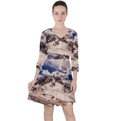 Italy Landscape Mountains Winter Ruffle Dress