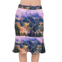 Landscape Fog Mist Haze Forest Mermaid Skirt