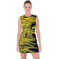 Golden Rod Gold Diamond Lace Up Front Bodycon Dress