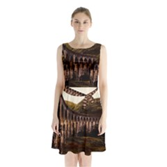 Viaduct Structure Landmark Historic Sleeveless Waist Tie Chiffon Dress