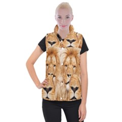 Africa African Animal Cat Close Up Women s Button Up Puffer Vest