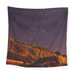Italy Cabin Stars Milky Way Night Square Tapestry (large) by BangZart