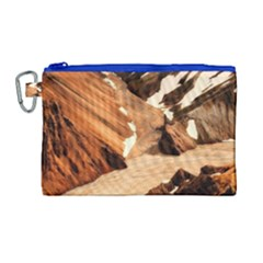 Iceland Mountains Snow Ravine Canvas Cosmetic Bag (large)
