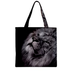 Feline Lion Tawny African Zoo Zipper Grocery Tote Bag