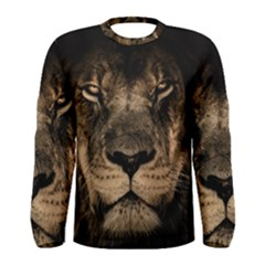 African Lion Mane Close Eyes Men s Long Sleeve Tee