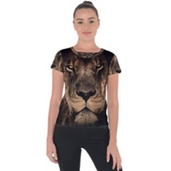 African Lion Mane Close Eyes Short Sleeve Sports Top