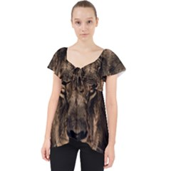 African Lion Mane Close Eyes Lace Front Dolly Top