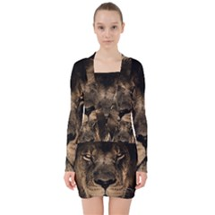 African Lion Mane Close Eyes V Neck Bodycon Long Sleeve Dress