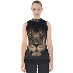 African Lion Mane Close Eyes Shell Top by BangZart