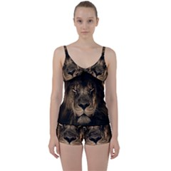 African Lion Mane Close Eyes Tie Front Two Piece Tankini