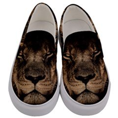 African Lion Mane Close Eyes Men s Canvas Slip Ons