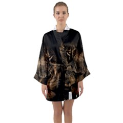 African Lion Mane Close Eyes Long Sleeve Kimono Robe