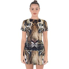 Tiger Bengal Stripes Eyes Close Drop Hem Mini Chiffon Dress by BangZart