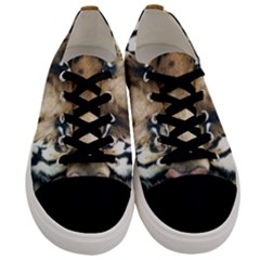 Tiger Bengal Stripes Eyes Close Men s Low Top Canvas Sneakers