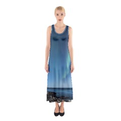 Aurora Borealis Lofoten Norway Sleeveless Maxi Dress