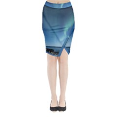Aurora Borealis Lofoten Norway Midi Wrap Pencil Skirt