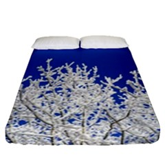 Crown Aesthetic Branches Hoarfrost Fitted Sheet (queen Size) by BangZart