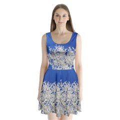 Crown Aesthetic Branches Hoarfrost Split Back Mini Dress