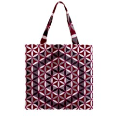 Flower Of Life Pattern Red Grey 01 Zipper Grocery Tote Bag by Cveti