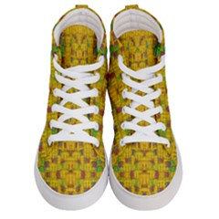 Rainbow Stars In The Golden Skyscape Women s Hi Top Skate Sneakers