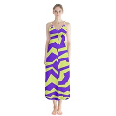 Polynoise Vibrant Royal Button Up Chiffon Maxi Dress