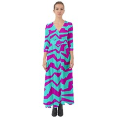 Polynoise Shock New Wave Button Up Boho Maxi Dress
