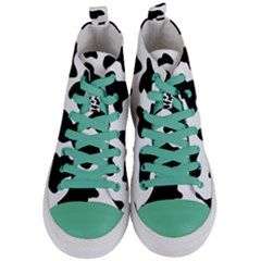 Animal Print Black And White Black Women s Mid Top Canvas Sneakers