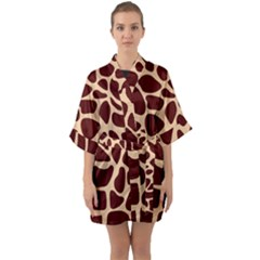 Animal Print Girraf Patterns Quarter Sleeve Kimono Robe