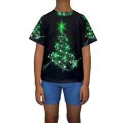 Christmas Tree Background Kids  Short Sleeve Swimwear by BangZart