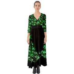 Christmas Tree Background Button Up Boho Maxi Dress
