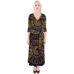 Eye Technology Quarter Sleeve Wrap Maxi Dress by BangZart
