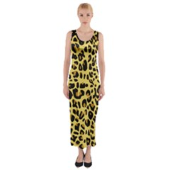 Animal Fur Skin Pattern Form Fitted Maxi Dress