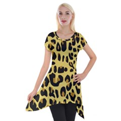Animal Fur Skin Pattern Form Short Sleeve Side Drop Tunic by BangZart
