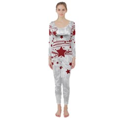 Christmas Star Snowflake Long Sleeve Catsuit