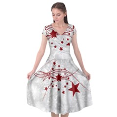 Christmas Star Snowflake Cap Sleeve Wrap Front Dress
